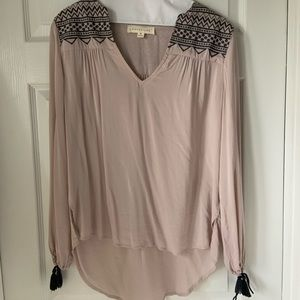 Lovestitch Blush colored blouse with tie sleeves